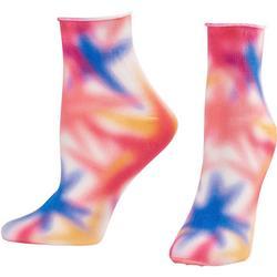 Womens Rainbow Tie Dye Roll Top Socks