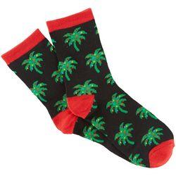 Brighten the Season Holiday Womens Christmas Palm Tree Socks