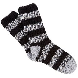 Cuddle Sox Womens Greyscale Striped Popcorn Cozy Socks