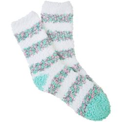 Cuddle Sox Womens Pastel Striped Popcorn Cozy Socks