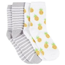 Cuddle Sox Womens 2 Pc. Pineapple & Stripes Cozy Socks