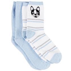 Womens 2 Pc. Dog & Solid Cozy Socks