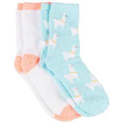 Cuddle Sox Womens 2 Pc. Llama & Solid Cozy Socks