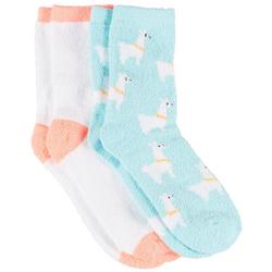 Womens 2 Pc. Llama & Solid Cozy Socks