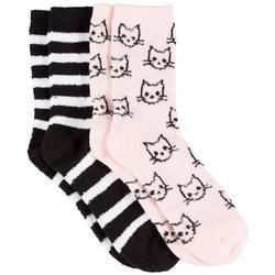 Womens 2 Pc. Cats & Stripes Cozy Socks