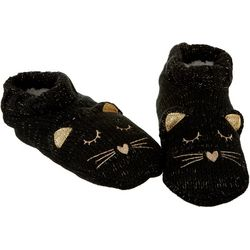 Capelli Womens Glitter Cat Faux Sherpa Slipper Socks