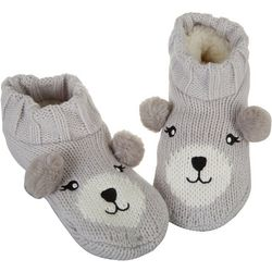 Capelli Womens Bear Faux Sherpa Slipper Socks
