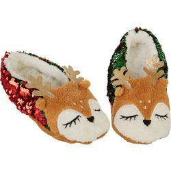 Capelli Womens Reindeer Sequin Slippers