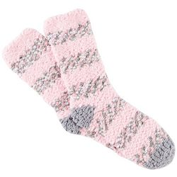 Cuddle Sox Womens Stripe Print Popcorn Cozy Socks