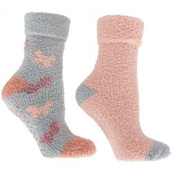 Minx NY Womens 2-pk. Butterfly Rose Infused Chenille Socks