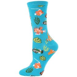 Me Moi Womens Bamboo Blend Tropical Fish Crew Socks