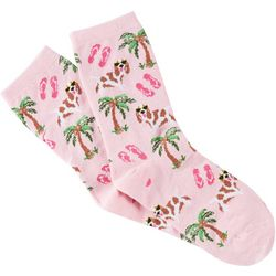 Me Moi Womens Bamboo Blend Tropical Spaniel Crew Socks