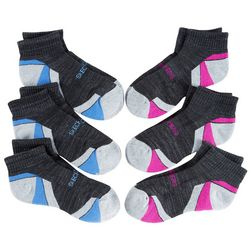 Skechers Womens 6-pk. Striped Colorblock Quarter Crew Socks