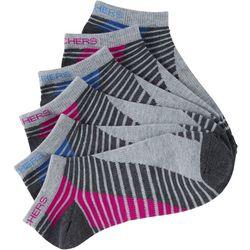 Skechers Womens 6-pk. Stripe Active Low Cut Socks