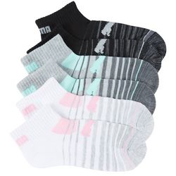 Puma Womens 6-pk. Striped Cushioned Quarter Crew Socks