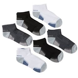 Skechers Womens 6-pk. Striped Mesh Quarter Crew Socks