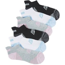 Puma Womens 6-pk. Colorblocked Stripe Low Cut Tab Socks