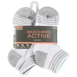 Skechers Womens 6-pk. Heathered Stripes Quarter Crew Socks
