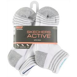 Womens 6-pk. Heathered Stripes Quarter Crew Socks