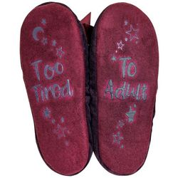 Faceplant Dreams Womens Too Tired Footsie Slippers