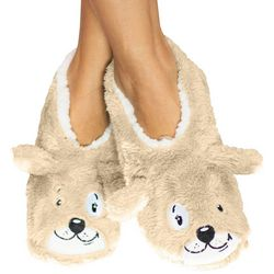 Faceplant Dreams Womens Sleepy Dog Footsie Slippers
