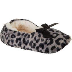 Gold Toe Womens Leopard Print Ballerina Slippers