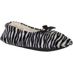 Gold Toe Womens Zebra Print Ballerina Slippers