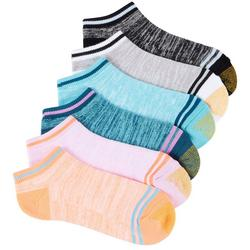 Womens 6-pk. Marled Stripe Cushion Liner Socks