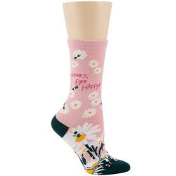 DAVCO Womens Floral & Bees Crew Socks