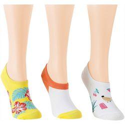 Davco Womens 3-pk. Hibisuc Fruits Low Cut Socks