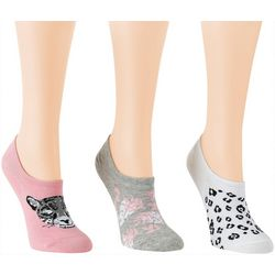 Davco Womens 3-pk. Leopard & Leaves Low Cut Socks