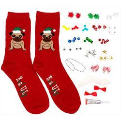 Design Your Own Ugly Christmas Pug Socks