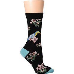 DAVCO Womens Floral Toucan Crew Socks