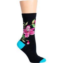 DAVCO Womens Pretty Flower Crew Socks