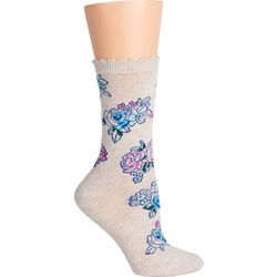 DAVCO Womens Art Floral Crew Socks
