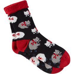 DAVCO Womens Fuzzy Kitties Brushed Terry Cabin Slipper Socks