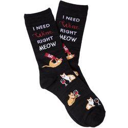 Davco Womens I Need Wine Right Meow Crew Socks