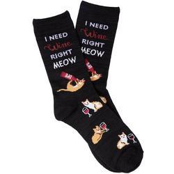 Womens I Need Wine Right Meow Crew Socks