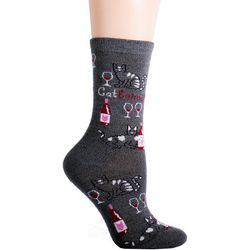 DAVCO Womens Catbernet Crew Socks