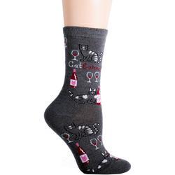 Womens Catbernet Crew Socks