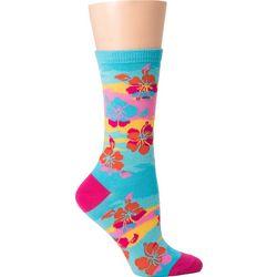 DAVCO Womens Hibiscus Crew Socks