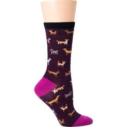 DAVCO Womens Dog Micro Stripe Crew Socks