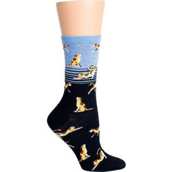 DAVCO Womens Colorblocked Cat Print Crew Socks