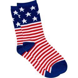 Soxland Womens Americana Stars & Stripes Crew Socks