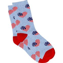 Womens Americana Heart Crew Socks