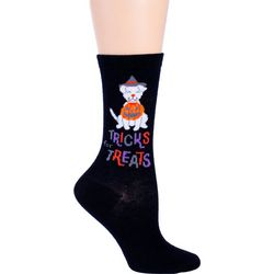 DAVCO Womens Trick Or Treat Dog Crew Socks