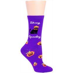 DAVCO Womens Spooky Cat Crew Socks