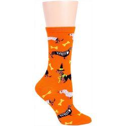 DAVCO Womens Halloween Daucshund Crew Socks