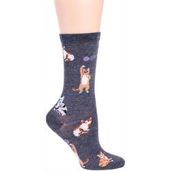 DAVCO Womens Playful Cat Crew Socks