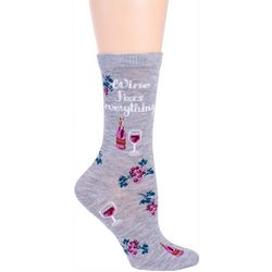 DAVCO Womens Wine Fixes Everything Crew Socks
